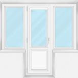 Балконный блок Пластиковые Трехстворчатые проф алюмин 58мм стекло 32мм, Иркутск