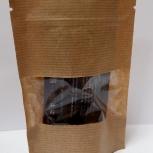 Пакет бумажный крафт дойпак с замком зип лок с прозрачным окном, Иркутск