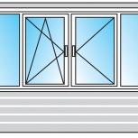 Балкон Пластиковые Двустворчатые профиль алюминиевый 58мм стекло 32мм, Иркутск